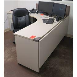 White  L  Shape Desk w/ Interlocking Sides, 3 Drawers & Rolling Chair