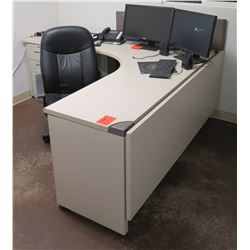 "White ""L"" Shape Desk w/ Interlocking Sides, 3 Drawers & Rolling Chair"