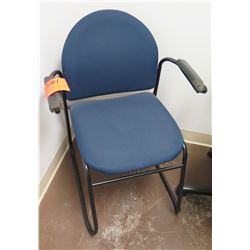 Stationary Blue Upholstered Chair w/ Metal Legs & Arm Rest