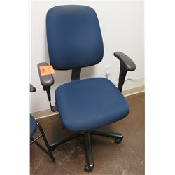 Rolling Blue Upholstered Office Arm Chair