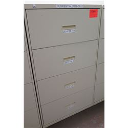 Beige Metal 4 Drawer Lateral File Cabinet