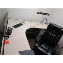White  L  Shape Desk w/ Interlocking Sides, Hutch, File Cabinet & Office Chair