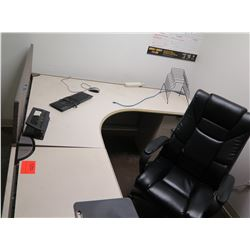 """White """"L"""" Shape Desk w/ Interlocking Sides, Hutch, File Cabinet & Office Chair (see last photo for d"""