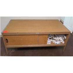 Hamilton Sorter Low Wood Table w/ Sliding Door Cabinet