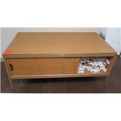 Hamilton Sorter Low Wood Table w/ Sliding Door Cabinet