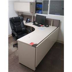 "White ""L"" Shape Desk w/ Interlocking Sides, File Cabinet & Rolling Chair"