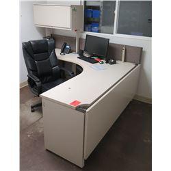 "White ""L"" Shape Desk w/ Interlocking Sides, File Cabinet & Rolling Chair (see last photo for dimenti"