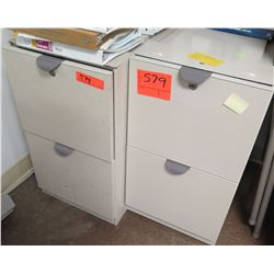 Qty 2 Beige 2 Drawer File Cabinet