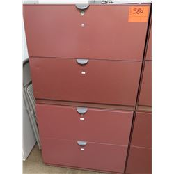 Qty 2 Red Metal 2 Drawer Lateral File Cabinets Stacked