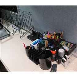 Office Supplies: Metal Sorter Racks, Hole Punch, Pens, Paper Clips, etc