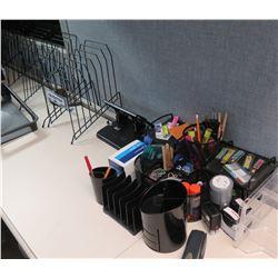 Office Supplies: Metal Sorter Racks, Hole Punch, Pens, Paper Clips, etc
