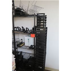 Black Wire Sheving Unit with Contents (Whole Puncher, Paper Holders, etc)