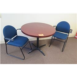 Round Table w/ 2 Blue Chairs