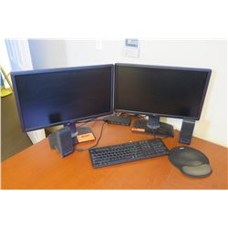 Qty 2 Dell Computer Monitors w/ Speakers and Keyboard