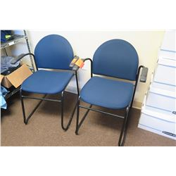 Qty 2 Blue Upholstered Reception Chairs