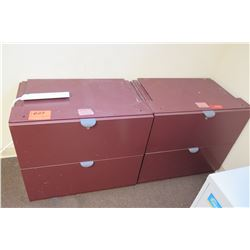 Qty 2 Red Metal 2-Drawer File Cabinets