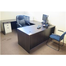 Dark Wooden Desk (U-Shape Configuration) w/ Black Office Chair & Blue Reception Chair