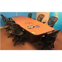 Wood Conference Table w/ 7 Rolling Mesh Chairs (does not come with Polycom unit)