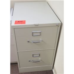 Beige Metal 2 Drawer File Cabinet