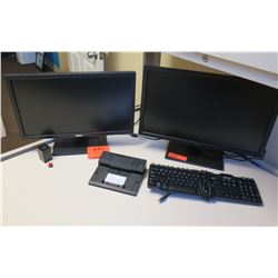 Qty 2 Dell LCD Computer Monitors & 1 Keyboard