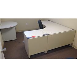 "White ""L"" Shape Desk w/ Interlocking Sides, 2 File Cabinets & Chairs (see last photo for dimensions)"