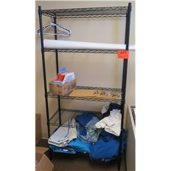 Wire Shelf & Contents: Tarps, Clipboards, etc