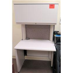 Small White Desk w/ Overhead Storage Shelf