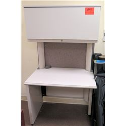"Small White Desk w/ Overhead Storage Shelf 24"" x 36"""