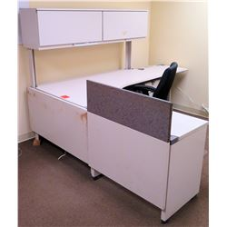 "White ""L"" Shape Desk w/ Interlocking Sides, Drawers, Overhead Compartment & Chair (see last photo fo"