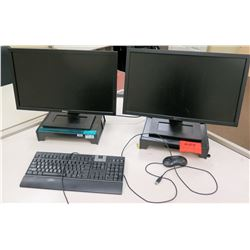 Qty 2 Dell LCD Computer Monitors w/ 1 Mouse & Keyboard
