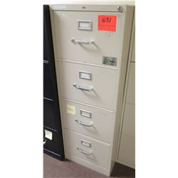 Beige Metal 4-Drawer File Cabinet