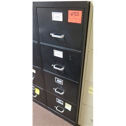 Black Metal 4-Drawer File Cabinet