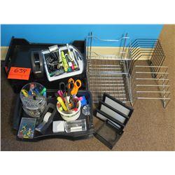 Office Supplies: Metal Sorter Racks, Scissors, Pens, Paper Clips, etc