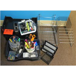 Office Supplies: Metal Sorter Racks, Scissors, Pens, Paper Clips, etc