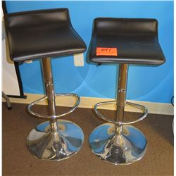 Qty 2 Metal Pedestal 1-Ring Stools w/ Square Upholstered Seats