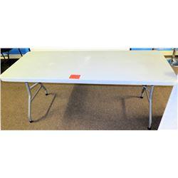 Heavy Duty White Plastic Portable Table w/ Folding Metal Legs