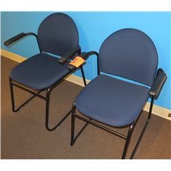 Qty 2 Blue Upholstered Arm Chairs w/ Stationary Metal Legs