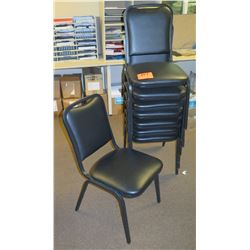 Qty 8 Black Metal Stacking Chairs w/ Cushioned Seat & Back