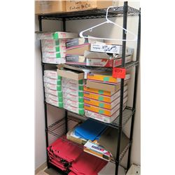 Metal Wire Shelf & Contents: Hanging, Fastener & File Folders
