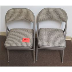 Qty 2 Metal Folding Chairs w/ Gray Upholstery