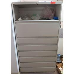 Beige Metal Locking 8 Drawer Cabinet