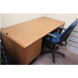 Small Wooden Desk w/ Drawers & Rolling Office Arm Chair