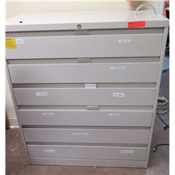 Beige 6 Drawer Cabinet & Contents: Outlets, Cords, Hardware, etc