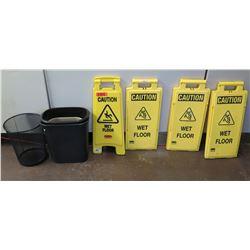 Qty 4 'Wet Floor' Safety Floor Signs & 4 Wastebaskets