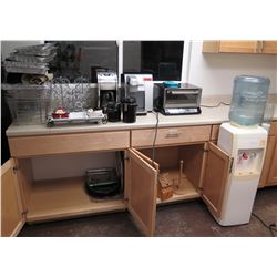 Contents of Kitchen: Water Dispenser, Small Appliances, Dishes, Refrigerator, etc