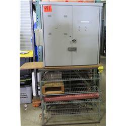 Metal Wire Cart & Gray Locking 2 Door Cabinet w/ 4 Shelves & Contents
