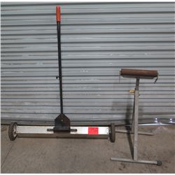 Rolling Metal Magnet Nail Sweeper & Metal Stand