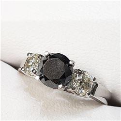 10K White Gold Black Diamond(1.1ct) Diamond(0.64Ct,I2-I3,H-I) Ring (~Size 6) (~weight 2.74g), Made i