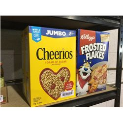 Jumbo Cheerios and Kellogg's Frosted Flakes Cereal Lot of 4
