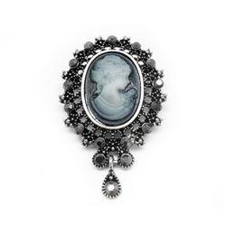 Elegant Silhouetted Gray Semi Precious Cameo Brooch